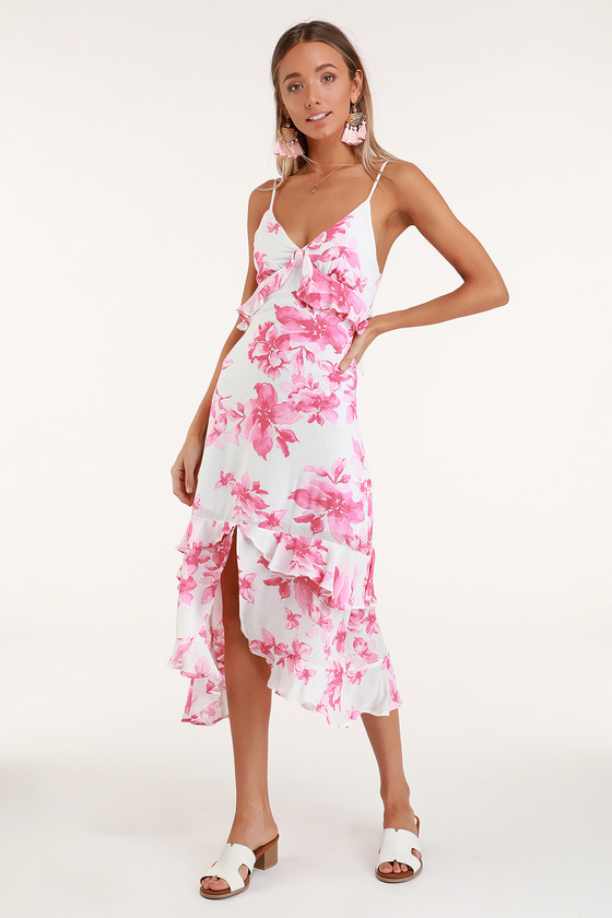 166377638d9 Island Time Pink and White Floral Print Ruffled Midi Dress