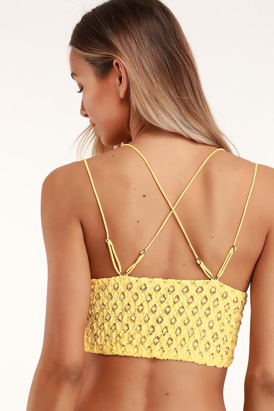 f20f2270985ed Free People Adella - Light Yellow Bra - Crochet Lace Bralette