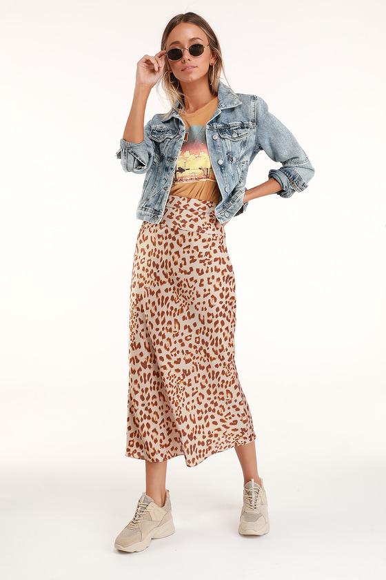 choose latest luxury fashion choose original Normani Brown Leopard Print Satin Midi Skirt