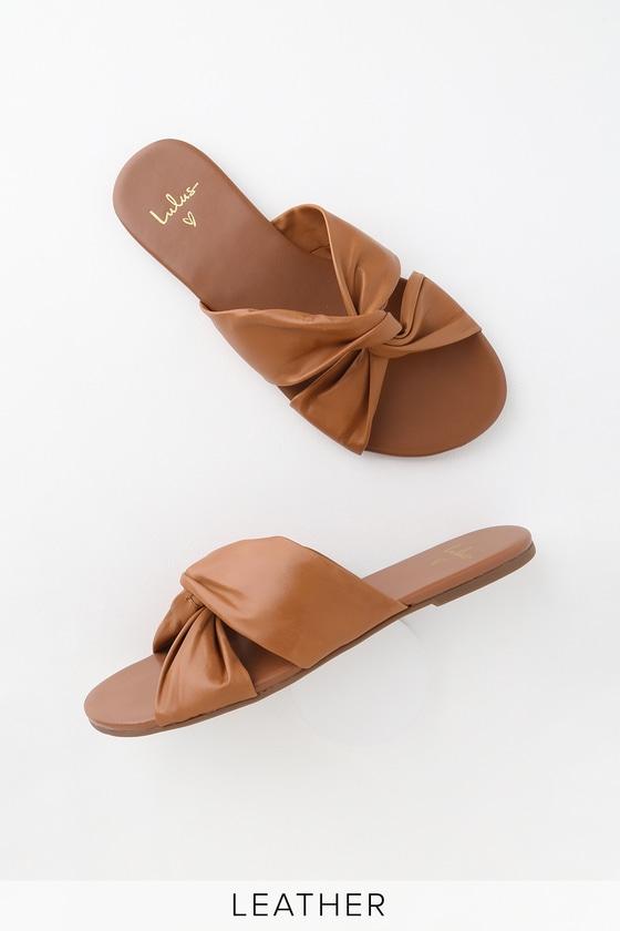 18481ef0e Cognac Leather Sandals - Slide Sandals - Knotted Sandals