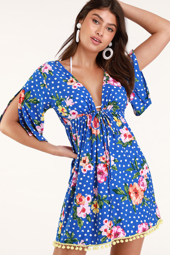 89e7684f68 Lucy Love Hot Springs - Blue Polka Dot Cover-Up - Floral Cover-Up