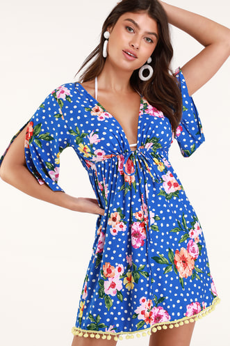 7dcdc6abc2 Hot Springs Blue Polka Dot and Floral Print Swim Cover-Up