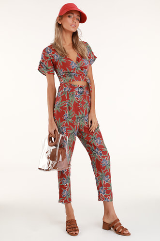 Cyrus Red Floral Print Belted Trouser Pants 761893bbb