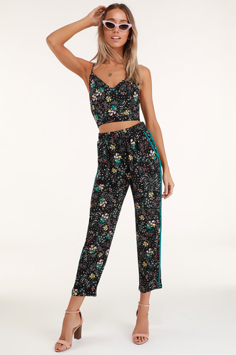 0383b3edda Boho Blooms Black Floral Print Pants