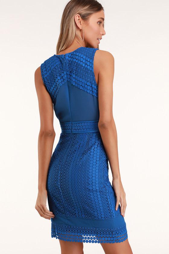 6cdf20e07698 Cute Blue Lace Dress - Sleeveless Blue Dress - Midi Dress