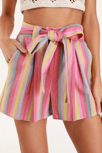 0e3e311c1b Priyanka Pink Multi Striped Belted High Waisted Shorts