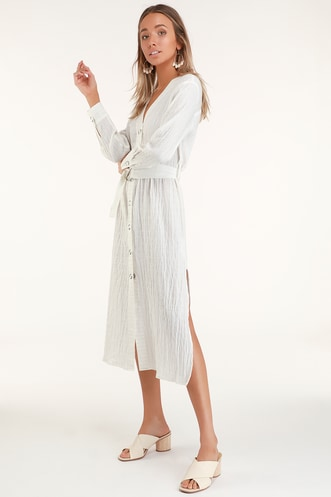 Leila White Striped Button-Front Belted Midi Dress 3d7c18338