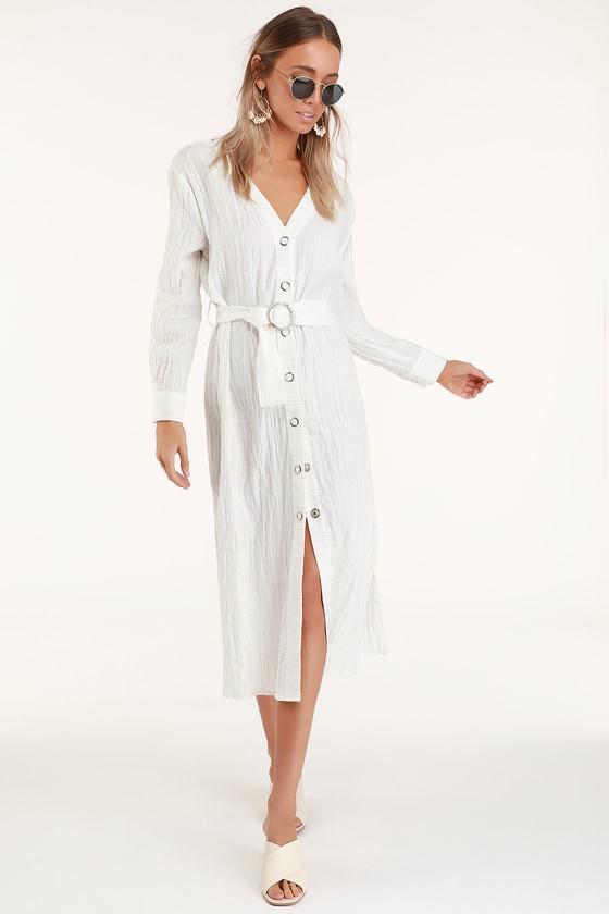 b8e63327a16 Moon River Leila - White Button-Front Dress - Long Sleeve Dress