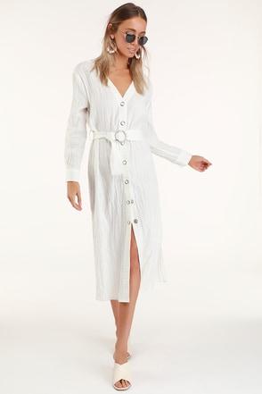 27fa6600b Moon River Leila - White Button-Front Dress - Long Sleeve Dress