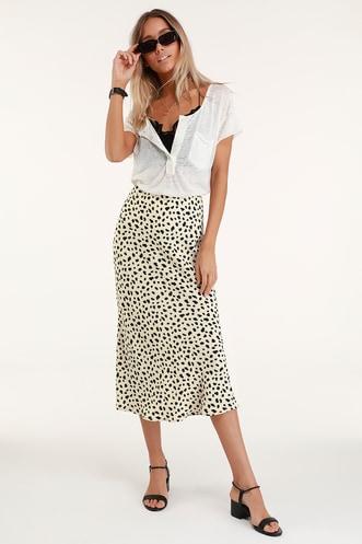 Raichel Beige Leopard Print Midi Skirt d6b0eb6cf