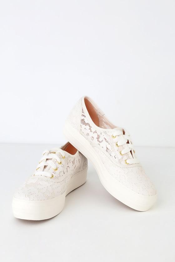 e9bd03c51 Keds Triple - Painted Crochet Sneakers - Lace Platform Sneakers