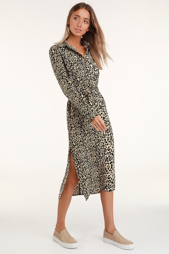 09c7e3139f Honey Punch Midi Dress - Leopard Print Dress - Long Sleeve Dress