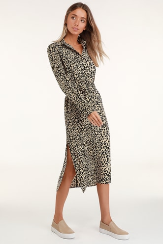 Meow or Never Beige Leopard Print Midi Shirt Dress 5f394db43
