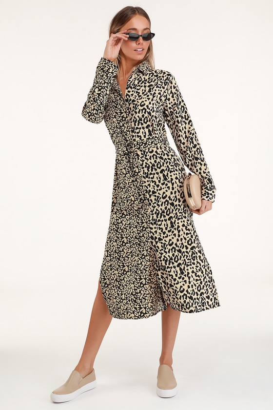 08d55e9d9624 Honey Punch Midi Dress - Leopard Print Dress - Long Sleeve Dress