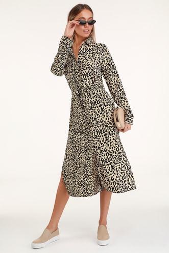 532c31cd36 Meow or Never Beige Leopard Print Midi Shirt Dress