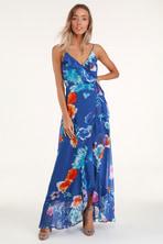 d9489c06c1 Navy Blue Print Dress - Short Sleeve Dress - Maxi Dress