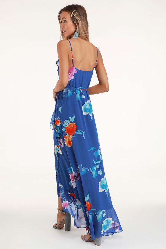 9760df78b Lovely Royal Blue Floral Print Dress - Wrap Dress - Maxi Dress