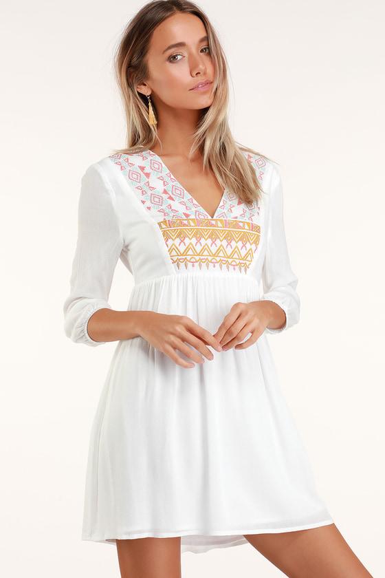 70c36b55ed Cute White Embroidered Dress - White Babydoll Dress - Mini Dress