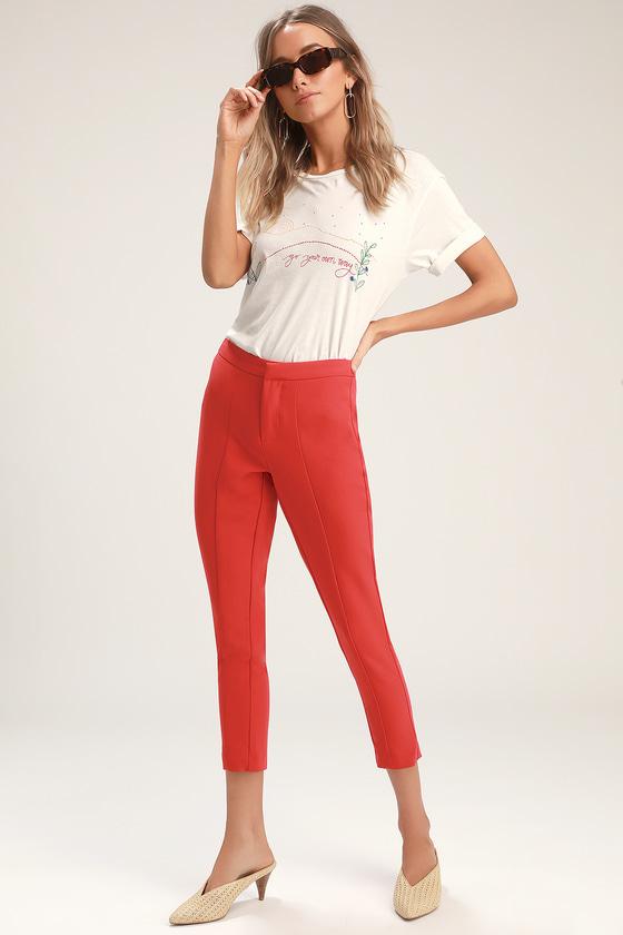 60s – 70s Pants, Jeans, Hippie, Bell Bottoms, Jumpsuits Mercer Red Cropped Trouser Pants - Lulus $75.00 AT vintagedancer.com