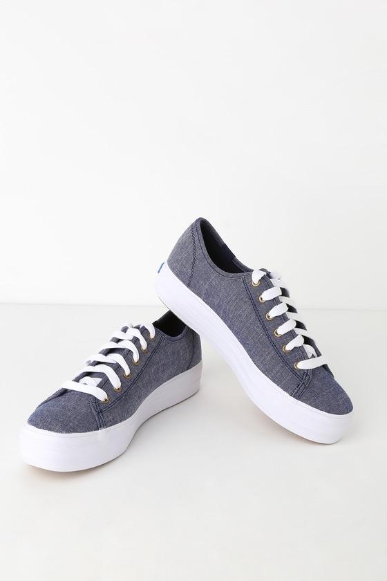 acb23adfd03b1 Keds Triple Kick - Chambray Blue Sneakers - Platform Sneakers