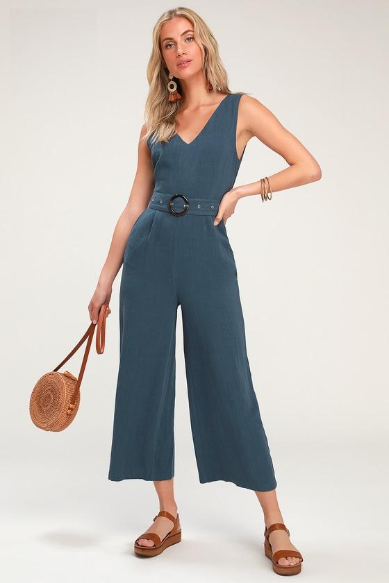 Avalon Denim Blue Belted Culotte Jumpsuit by Lulus