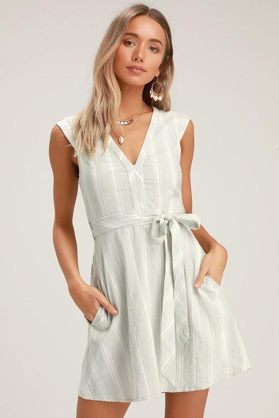 O Neill Jamyson - Grey Striped Dress - Embroidered Dress - Dress e359f309c