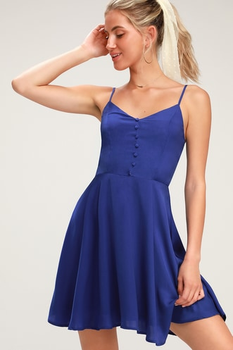 Rebecka Royal Blue Button Front Skater Dress 2fb9aa111