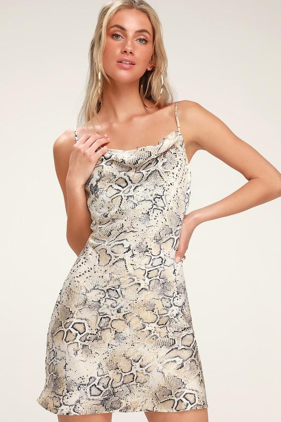 06a738652d J.O.A. - Beige Snake Print Satin Slip - Cowl Neck Slip Dress