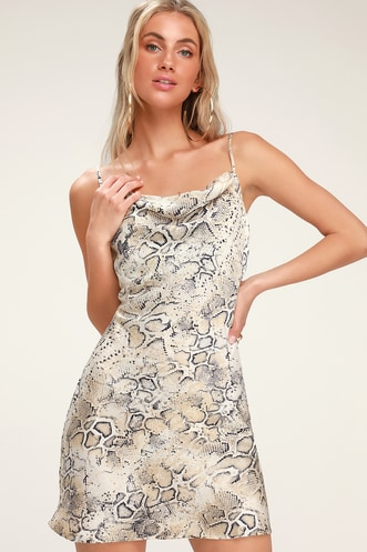 Breeana Beige Snake Print Satin Cowl Neck Slip Dress af4f2861d