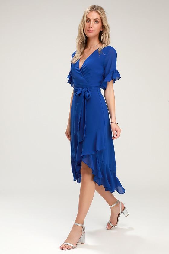 e068aae224352 Sexy Royal Blue Dress - Blue High-Low Dress - High-Low Wrap Dress