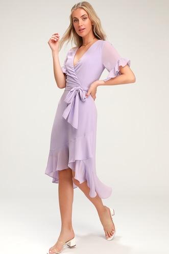 5de295d4ab For the Frills Lavender High-Low Wrap Dress