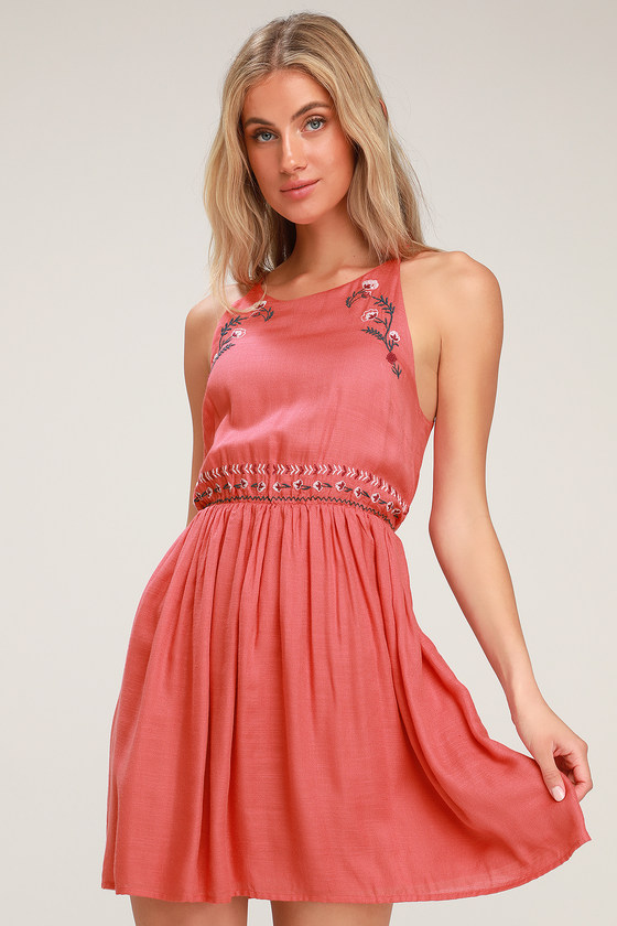 03ce58dd38 Cute Coral Pink Dress - Pink Embroidered Mini Dress - Sundress