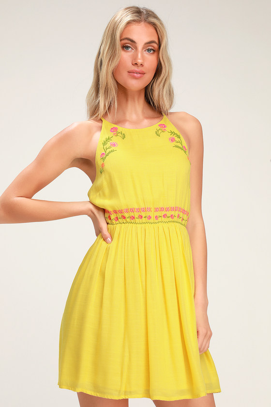 aead0f9d391 Cute Yellow Dress - Yellow Embroidered Mini Dress - Sundress