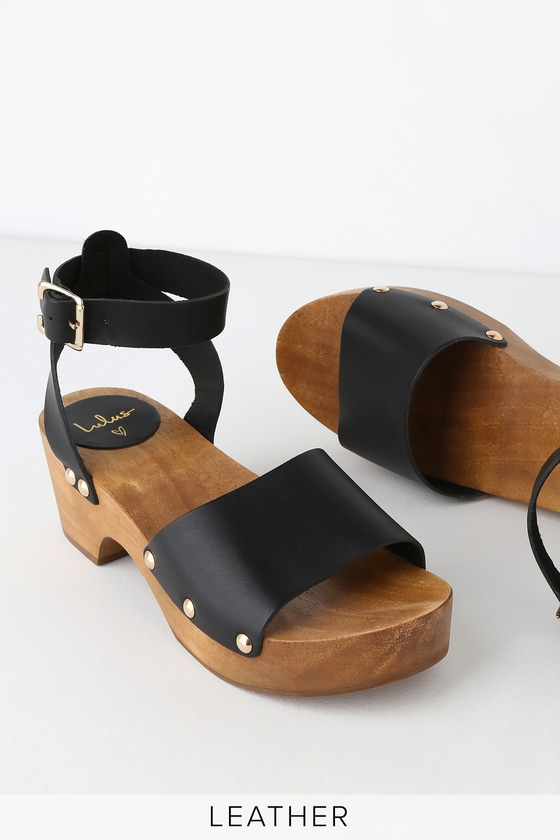 Chic Black Leather Clog Sandals - Open