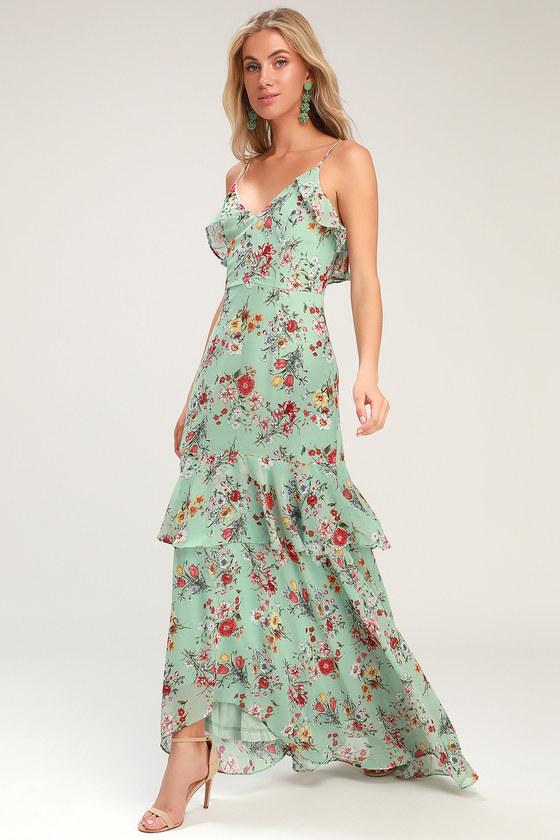 Gabriella Sage Green Floral Print Ruffled High-Low Maxi Dress - Lulus