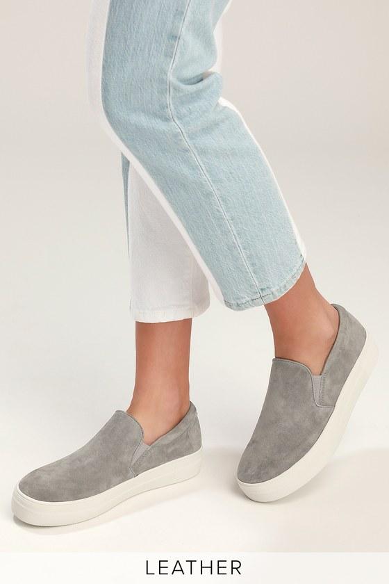 bd566c215d5 Gills Grey Suede Leather Flatform Sneakers - Grey Suede Sneakers