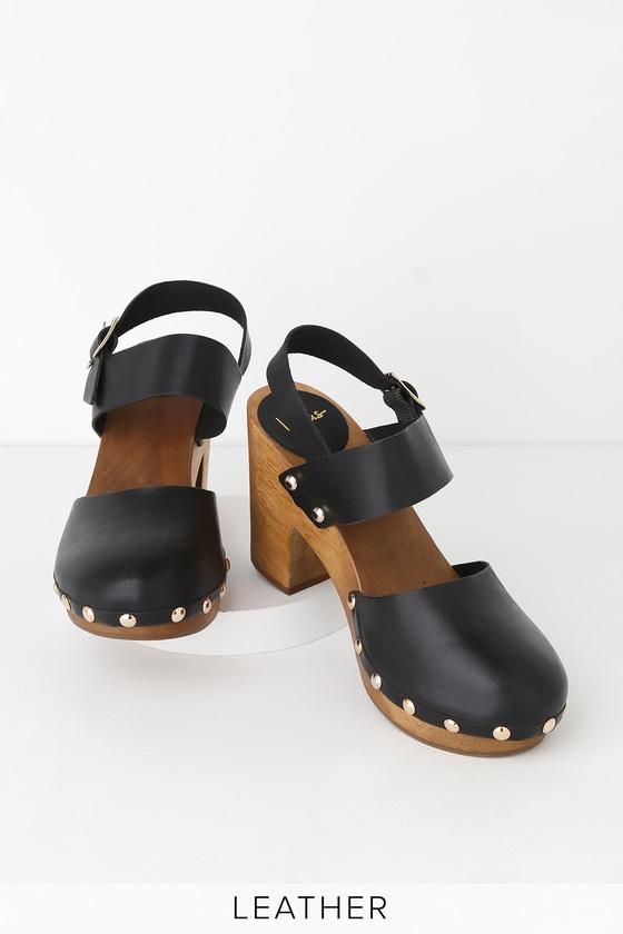 9f26325a50d85 Weslyn Black Vachetta Leather Wooden Clog Heels