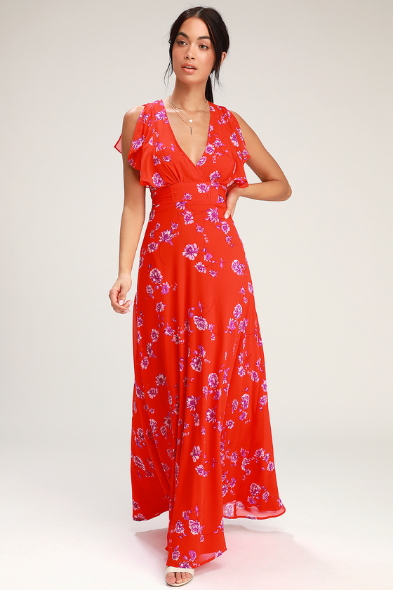 c5f9f4d0c89 Pretty Red Maxi Dress - Flutter Sleeve Dress - Red Gown