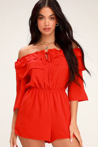 72f23259751b Showstopper Red Ruffled Off-the-Shoulder Romper