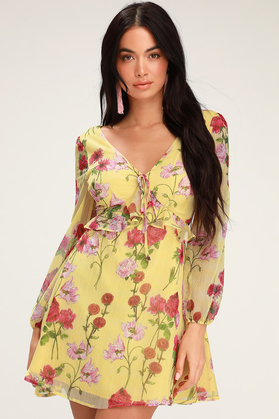 69f64144c0 BB Dakota Botanical Bae - Yellow Floral Print Long Sleeve Dress