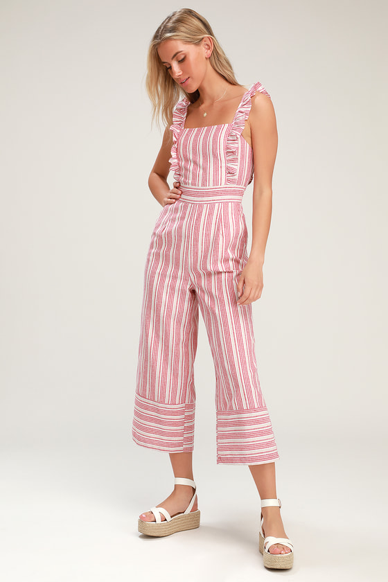 Emilia Rae White and Red Striped Ruffle Culotte Jumpsuit