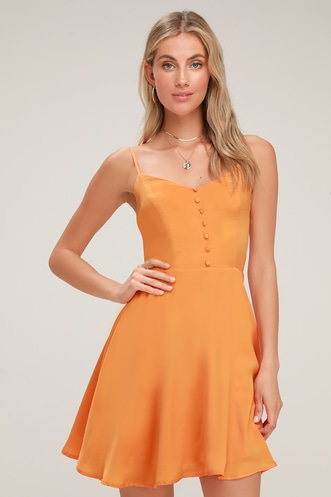 Rebecka Orange Button Front Skater Dress a55f816c0