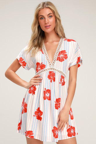 d9ce6a11f3 Pretty Mama White Tropical Print Lace-Up Short Sleeve Dress