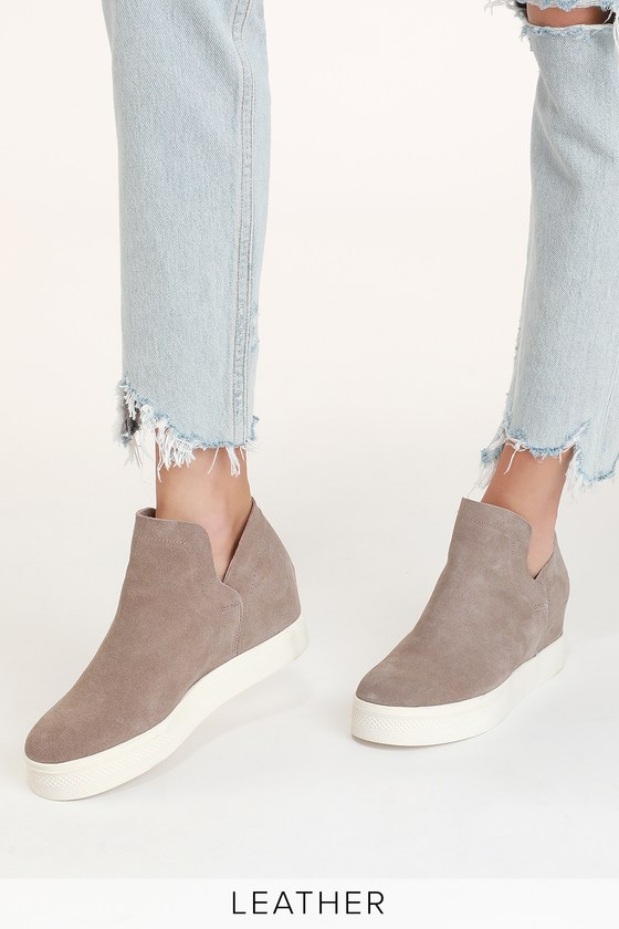c5eadf3e101 Wrangle Taupe Suede Wedge Sneakers