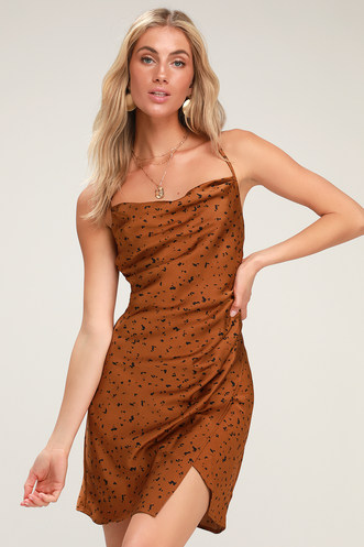 Yasmina Copper Dot Print Satin Cowl Neck Slip Dress 9863456b6