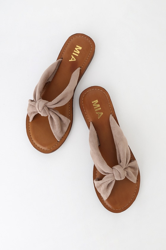 1dd8cde3d200 MIA Emila - Taupe Suede Sandals - Slide Sandals - Flat Sandals
