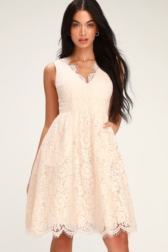 Love Swept Blush Pink Lace Midi Skater Dress a7121fe99