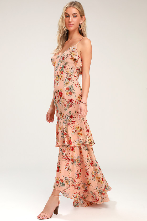 47fe5dd2c6 Lovely Blush Floral Print Dress - High-Low Dress - Ruffled Maxi