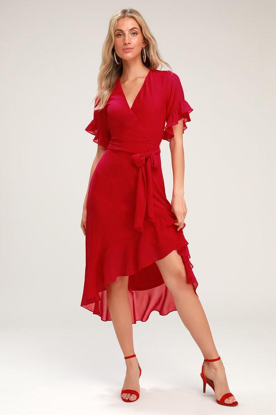 e1a38a7340de Sexy Red Dress - Red High-Low Dress - Red High-Low Wrap Dress
