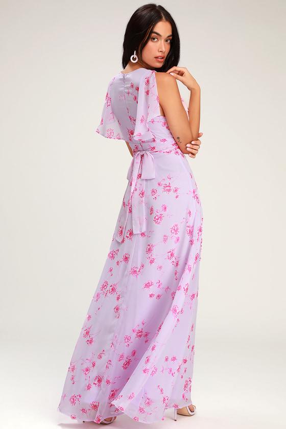 523eb6d9d9b Pretty Lavender Maxi Dress - Flutter Sleeve Dress - Purple Gown
